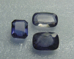 Natural unheated ~ mixed sizes~ iolite stones 3 pcs 8.55cts