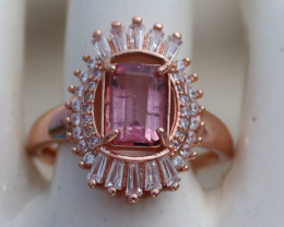 Red Tourmaline or Rubellite 1.05ct, Rose Gold Plated, Solid Sterling Silver