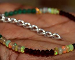 Natural Ethiopian Opal Garnet Green Onyx Smokey Beads Bracelet 21