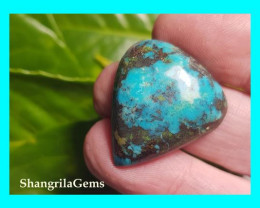 28mm Tibetan turquoise cabochon drop shape 28 by 25 by 7mm 34ct As seen