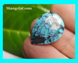 21mm Tibetan turquoise cabochon drop shape 21 by 16 by 3mm