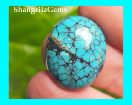 20mm Tibetan turquoise cabochon oval spiders web markings 11ct 20 by 16 by