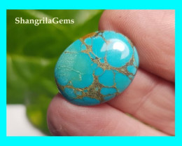 20mm Tibetan turquoise cabochon spiders web markings oval 20 by 16 by 3.5mm