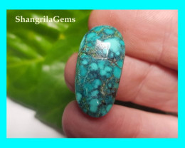 24mm Tibetan turquoise cabochon spiders web markings oval 24 by 12 by 5.5mm