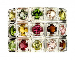 ⭐Glittering Tourmaline Sterling Silver ring Size 9
