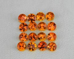 1.30 mm Round 75pcs Golden Orange Sapphire [VVS]