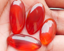 23.25 CRT 4 PCS NATURAL INDONESIAN PARCEL CABS CARNELIAN CHALCEDONY-J17-