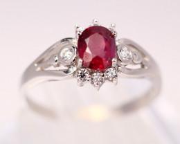 UNHEATED Ruby 18K Solid White Gold F/G VS Diamond Ring E2701