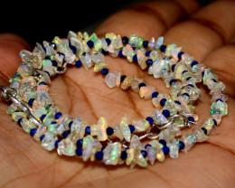 23 Crt Natural Ethiopian Welo Fire Uncut Opal & Lapis Lazuli Necklace 2