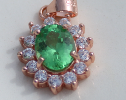 Tsavorite Garnet 1.20ct,Rose Gold Plated,Solid Sterling Silver Pendant,Oval