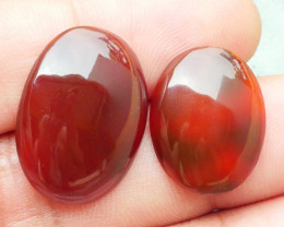 22.85 CRT 2PCS NATURAL INDONESIAN PARCEL CABS CARNELIAN CHALCEDONY-J19-