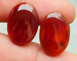 18.35 CRT 2PCS NATURAL INDONESIAN PARCEL CABS CARNELIAN CHALCEDONY-J20-