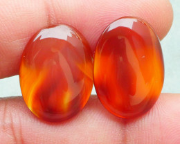 19.15 CRT 2PCS NATURAL INDONESIAN PARCEL CABS CARNELIAN CHALCEDONY-J21-