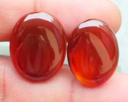 19.55 CRT 2PCS NATURAL INDONESIAN PARCEL CABS CARNELIAN CHALCEDONY-J23-