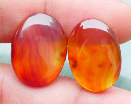 18.35 CRT 2PCS NATURAL INDONESIAN PARCEL CABS CARNELIAN CHALCEDONY-J24-