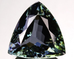 ~LOVELY~ 5.07 Cts Natural Tanzanite Bi-Color Blue - Green Trillion Tanzania