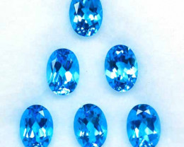 Fabulous Master Cut Natural Swiss Blue Topaz Oval 7 X 5mm 5.54 Cts