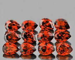4x3 mm Pear 12pcs Reddish Orange Garnet [VVS]