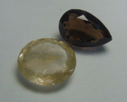Ruitilated ~ bronwn quartz  ~ 2 pcs 40.60cts