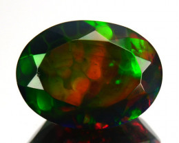 1.37Ct Gorgeous Play colour Natural Smoked Black Opal Oval Faceted