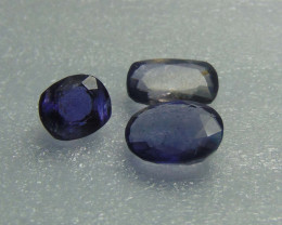 Natural unheated ~ mixed sizes~ iolite stones 3 pcs 8.85cts