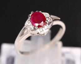 Ruby 18K Solid White Gold F/G VS Diamond Ring GJ E0202