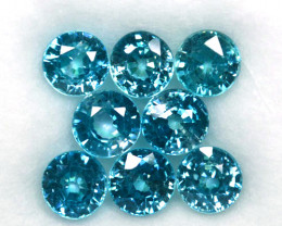 10.81 Cts Natural Sparkling Blue Zircon 6 mm Round Cut 8 Pcs Cambodia