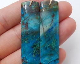 Chrysocolla Earrings Square earrings beads, stone for earrings making B503