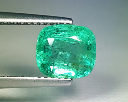 "2.22 ct "" Top Grade Gem"" Stunning Cushion Cut Top Luster Emerald"
