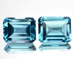 ~PAIR~ 6.12 Cts Natural London Blue Topaz Octagon Cut Brazil