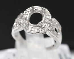 Semi Mount 7x5mm-8x6mm 18K Fine Jewelry White Gold G/VS  Diamond Ring V05
