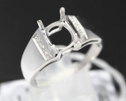 Semi Mount 7x5mm-8x6mm 18K Fine Jewelry White Gold G/VS  Diamond Ring V08