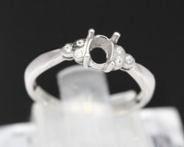 Semi Mount 4x3mm 18K Fine Jewelry White Gold G/VS  Diamond Ring V09