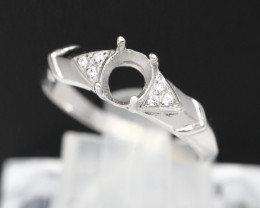 Semi Mount 5x4mm 18K Fine Jewelry White Gold G/VS  Diamond Ring V10