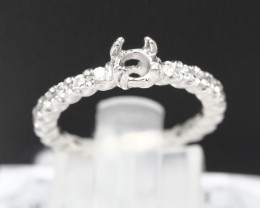 Semi Mount 3.5mm-3.8mm 18K Fine Jewelry White Gold G/VS  Diamond Ring R02