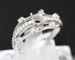 Semi Mount 4mm-4.3mm 18K Fine Jewelry White Gold G/VS  Diamond Ring R03