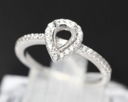 Semi Mount 5.5x4.0mm 18K Fine Jewelry White Gold G/VS  Diamond Ring P01