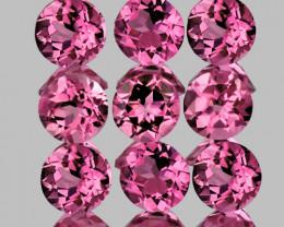 3.00 mm Round 9 pcs 1.08cts Pink Tourmaline [VVS]
