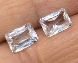 2.80 Carat VVS Zircon Pair - Diamond White Color Flash - Precision Cut !