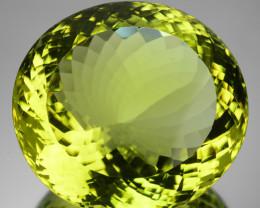 ~BIG~ 65.99 Cts Natural Prasiolite Quartz Lemon Yellow Oval Cut Brazil