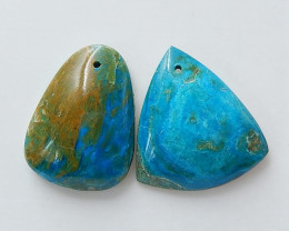 2 Pcs Blue OPal Drilled Gemstone Pendant Bead, Gemstone Making H3677