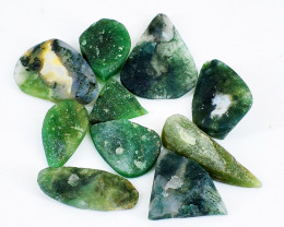 Genuine 110.00 Cts Green Moss Agate Druzy Gem Lot