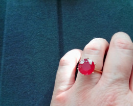 Fissure Filled Ruby 9.29ct. Ring in Solid  9ct. Gold