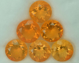 5.68Ct Lustrous Natural Mexican Fire Opal Round 7mm Parcel