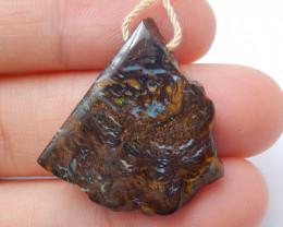 Boulder Opal Gemstone Pendant Bead Fire, Rare Australian Opal B533