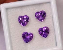 6.66cts Natural Purple Amethyst Heart Cut Lot / F06