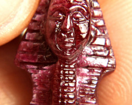 13.31 Carat Natural Ruby Khufu Carving - Fun