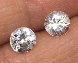 2.50 Carat VVS Zircon Pair-Diamond White Color Precision Cut and Color Qual