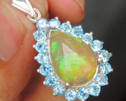 Opal in Silver with Topaz accents