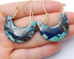 Chrysocolla Earrings Beads, stone for earrings making ,Wholesale Jewelry B5
